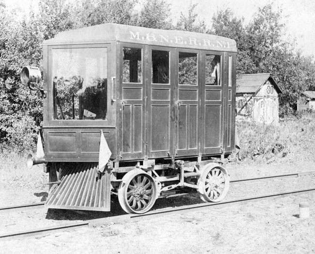 Historical Photo of the Manistee and North East Inspection Car also know as a railway motor car, putt-putt, track maintenance car, crew car, Jigger, trike, quad, trolley or as a draisine