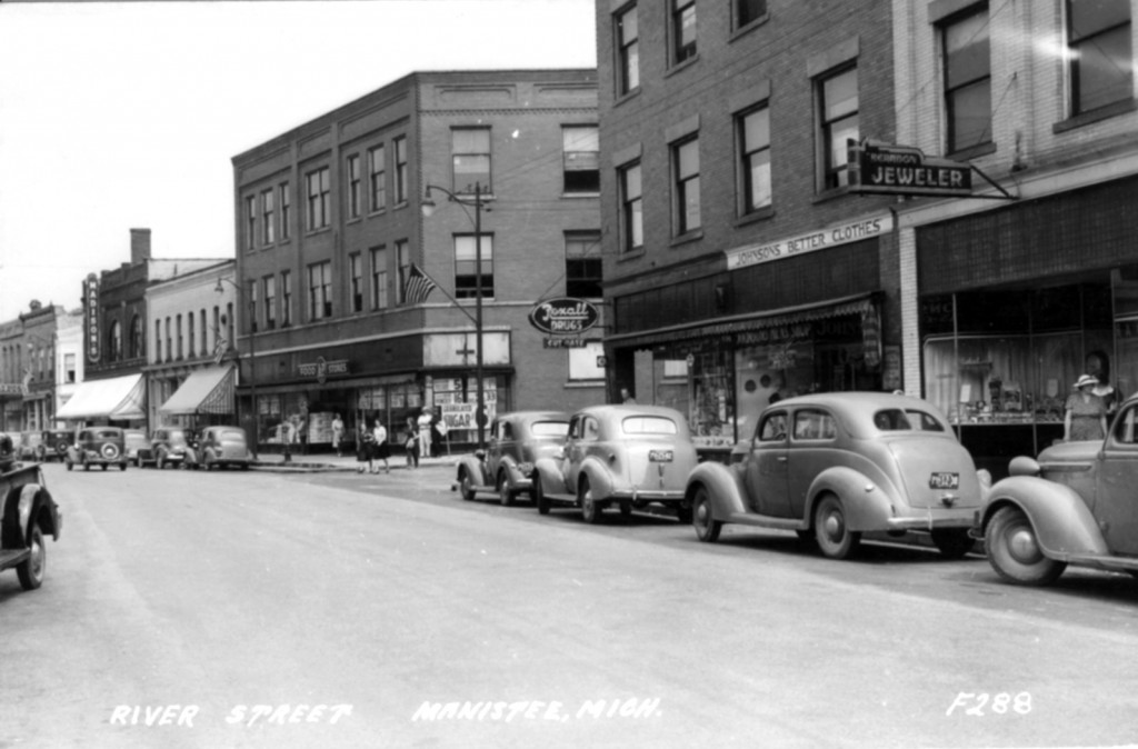 Undated photo of River Street  that shows cars from the 1940's parked on the street