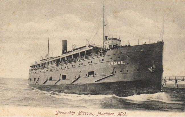 Steamship Missouri a US Mail ship is seen entering the Manistee Harbor in this historical photo