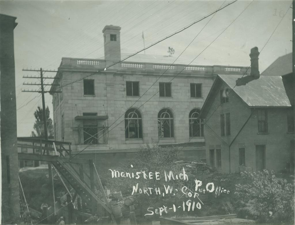 Exterior work continues in September 1910 on the Post Office photo taken from the northwest corner shows the exterior, roof and chimney in place windows have yet been installed