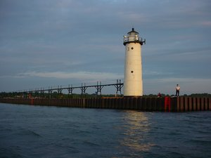 Fifth Avenue Lighthouse and catwalk as seen from the waters of Lake Michigan