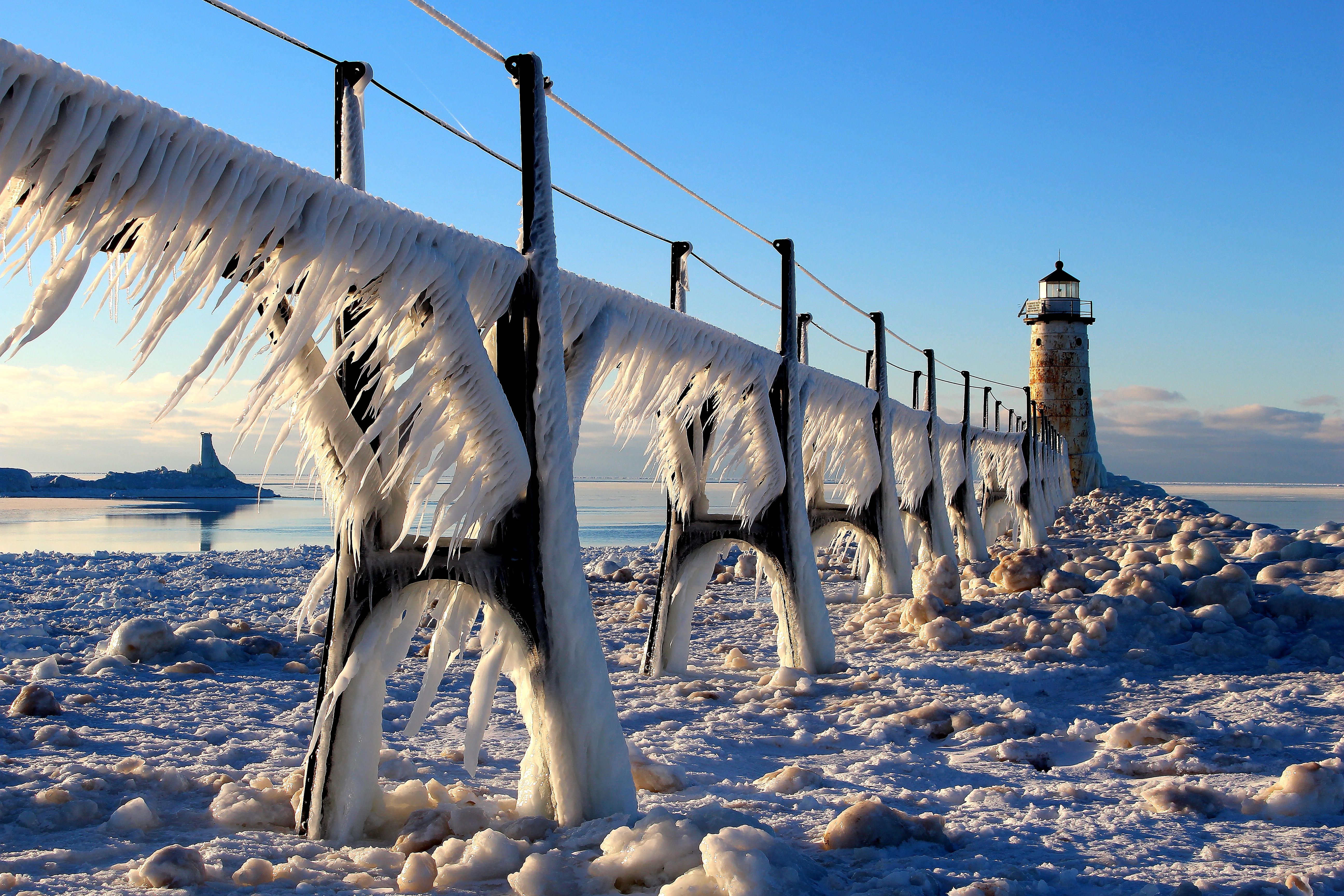 Winter day with ice on the catwalk that leads out to the Fifth Avenue lighthouse